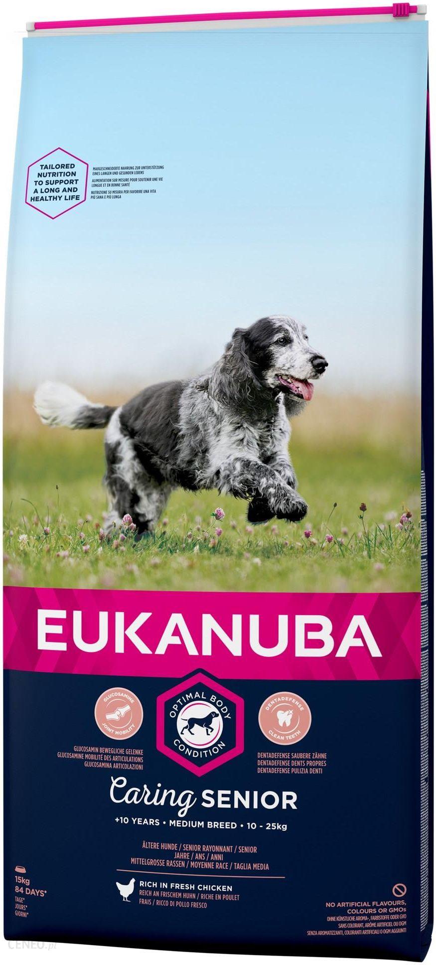EUKANUBA Caring Senior Medium Breed bogata w świeżego kurczaka 15kg