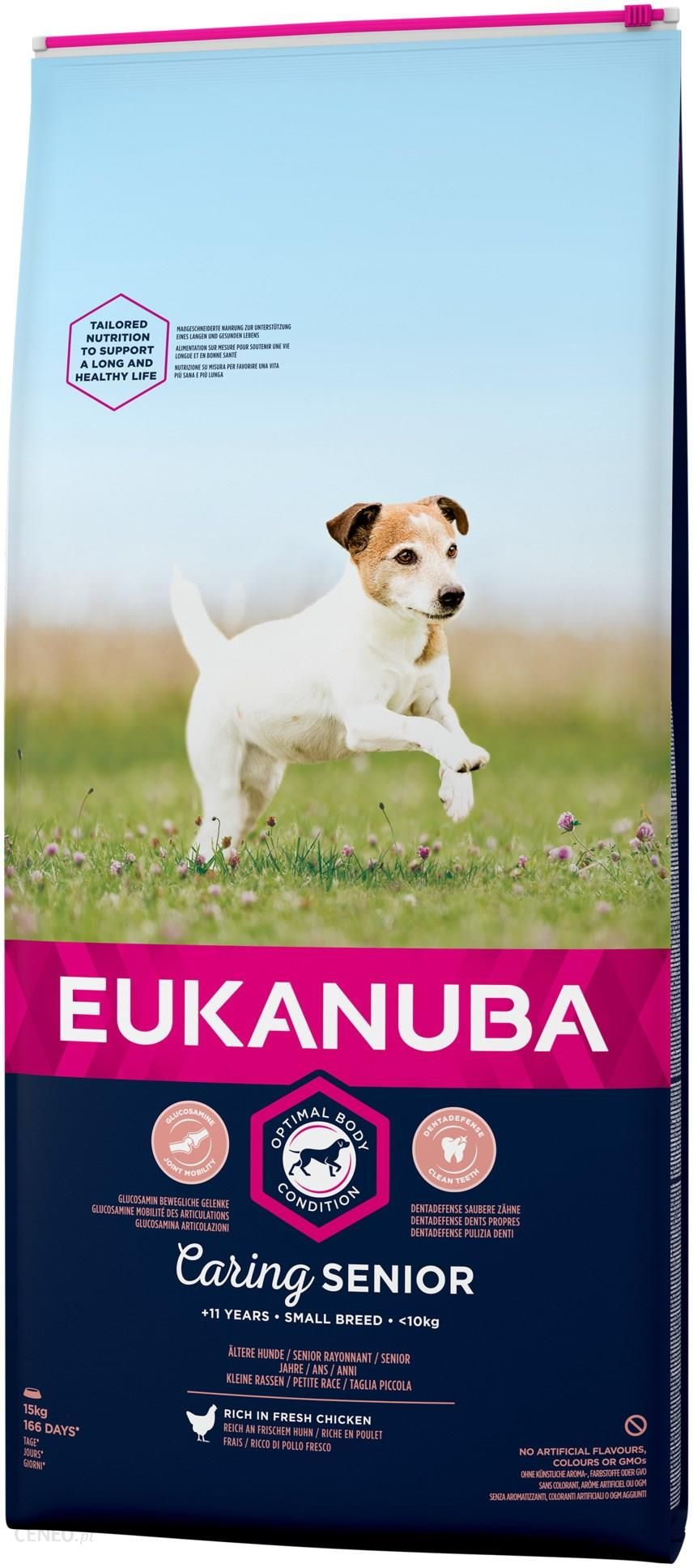 EUKANUBA Caring Senior Small Breed bogata w świeżego kurczaka 15kg