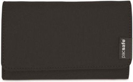 f35ec6534f7d5 Portfel damski z ochroną kart i zewnętrzną przegrodą na bilon Pacsafe  RFIDsafe LX100 Czarny - czarny