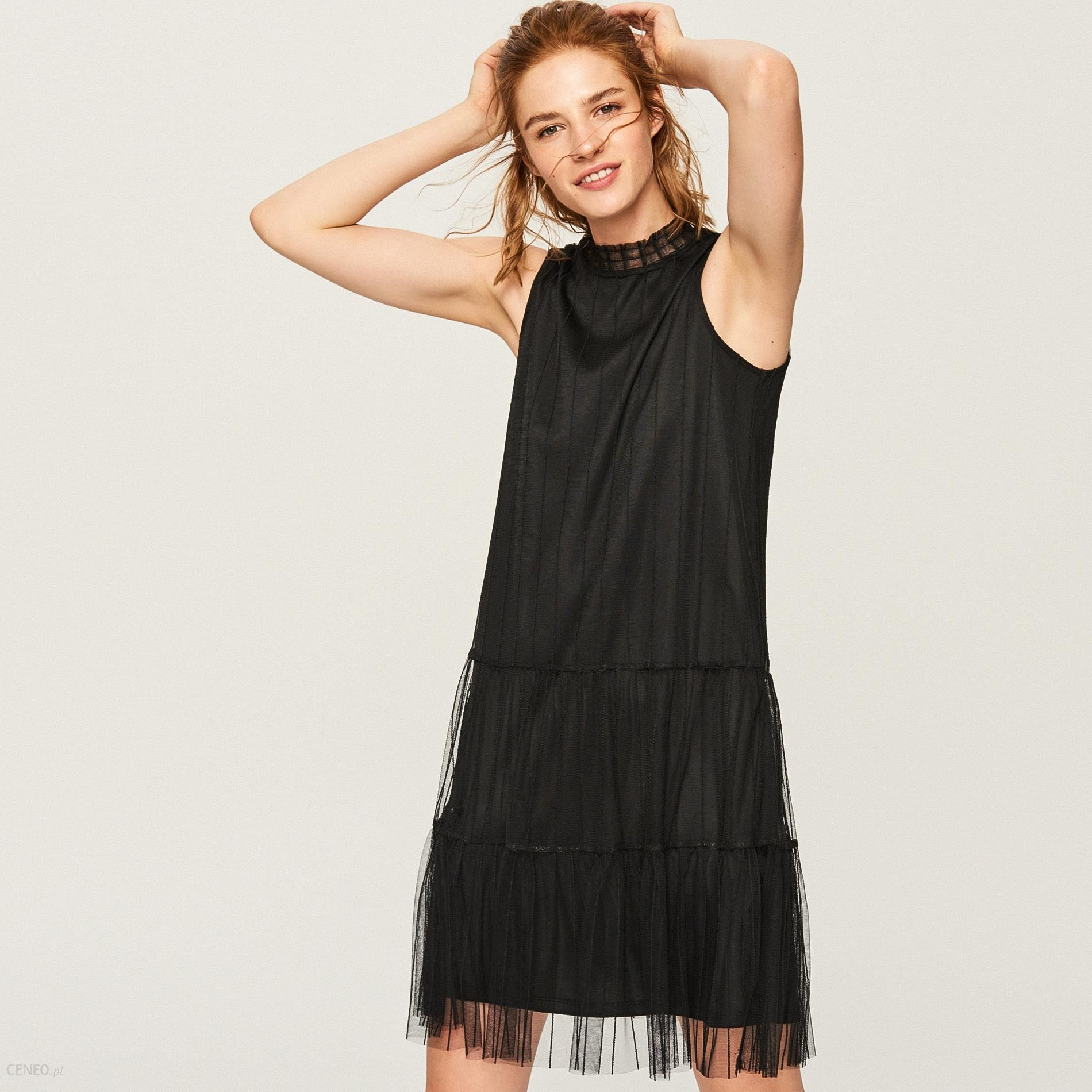 8e7020a5d6f323 Reserved - Tiulowa sukienka - Czarny - Ceny i opinie - Ceneo.pl