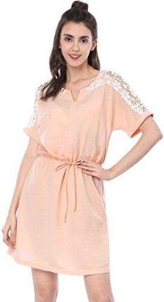 f23e4cdecffb Amazon Allegra K damski kwiat płyty koronka ściągacz w talii na kolana  sukienka - rose