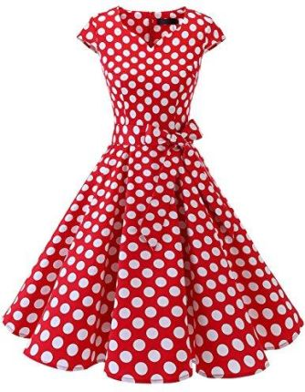 Amazon dresstells Vintage 50er Swing impreza sukienka Cap Sleeves Rockabilly retro Hepburn koktajlowa, kolor: czerwony i biały w kropki (Red White Dot