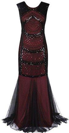 6bd7df24a0 Amazon prett yguide damskie XX brokat suknia balowa Syrenka długa suknia  wieczorowa - Koktajl burgundowy