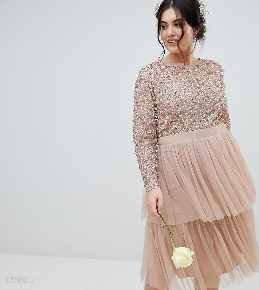 71f70b010a1de Maya Plus Long Sleeve Sequin Top Midi Dress With Tiered Tulle Skirt - Brown  - zdjęcie