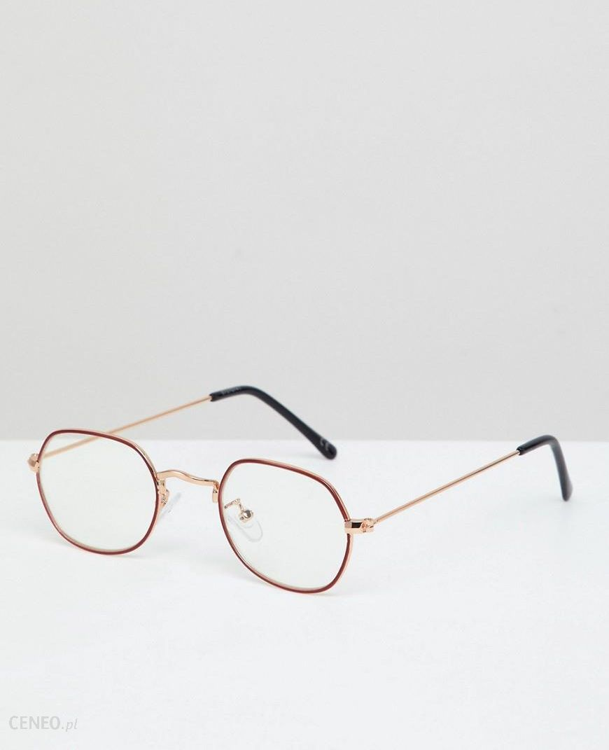2a55b3fd73 ASOS DESIGN Angled Round Glasses In Gold With Red Edge Detail   Clear Lens  - Gold