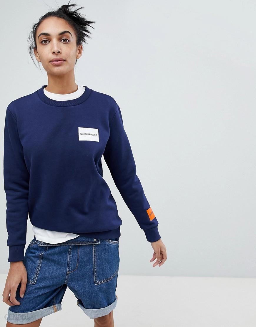 c7461de832f4b Calvin Klein Jeans Sweatshirt with Block Logo - Blue - zdjęcie 1