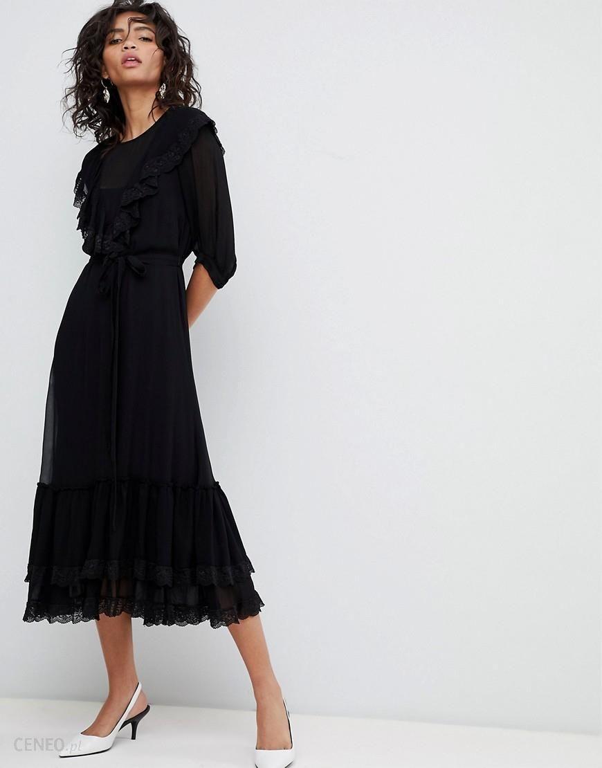 520bdcd09f0 Ghost 3 4 sleeve lace detail dress - Black - zdjęcie 1