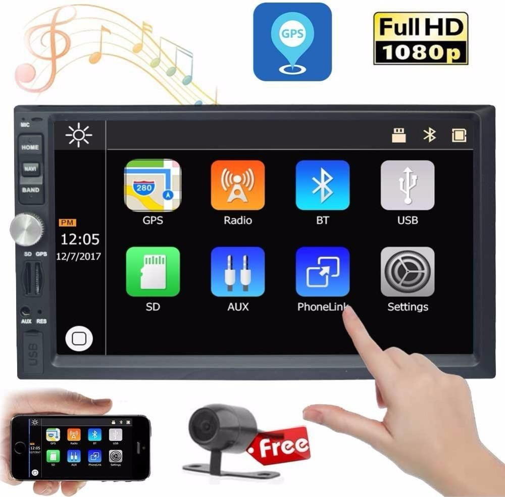 """Double 2 Din 7/"""" Car FM//MP5 Player Touch Screen Stereo Radio Bluetooth Free Cam"""