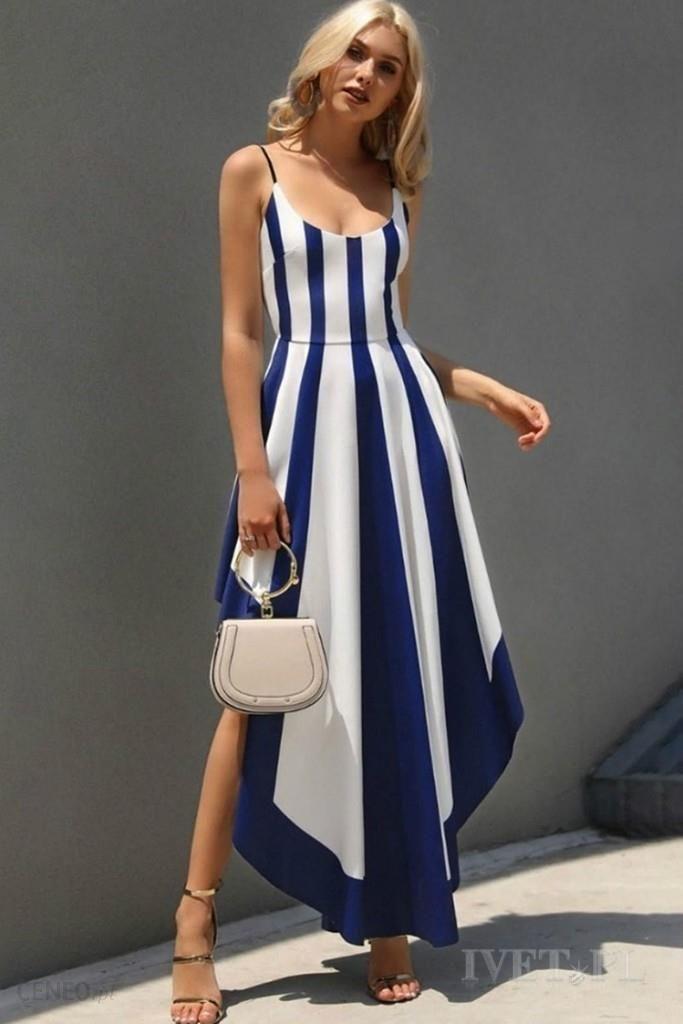 Sukienka EMANUELA BLUE Modna sukienka o asymetrycznym kroju