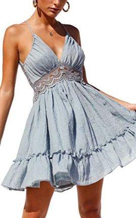 d7a756add4 Amazon Sukienka damska koronkowa z dekoltem w kształcie litery V od ECOWISH