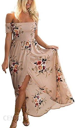 Amazon yieune lato sukienki damskie kwiaty maxi sukienka na ramię off Shoulder sukienka wieczorowa sukienka plażowa impreza, kolor: khaki , rozmiar: x
