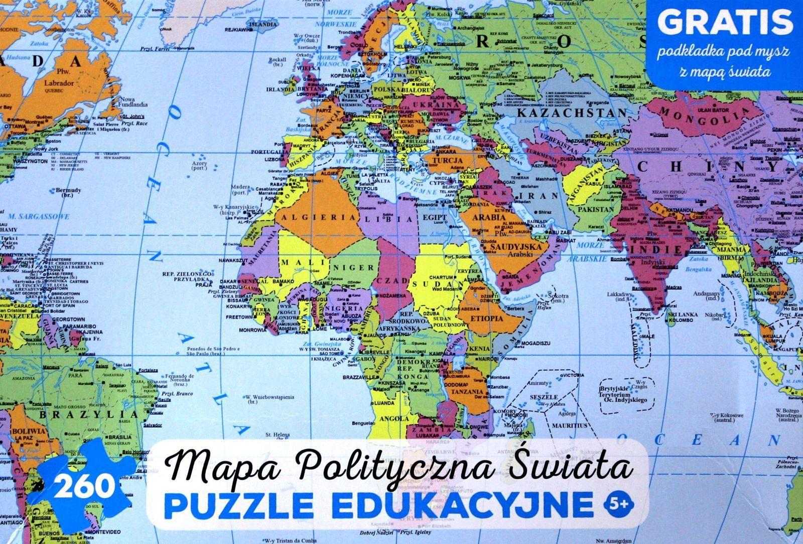 Artglob Puzzle 260 Elementow Mapa Polityczna Swiata Ceny I