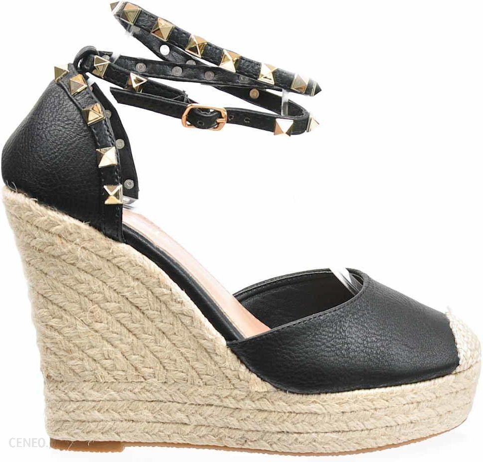 b110e0c2 Pantofelek24.pl | Czarne sandały espadryle na koturnie | Kayla Shoes -  zdjęcie 1