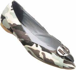 1004e135137a7 Pantofelek24.pl | Otwarte balerinki w militarnym stylu ZIELONE