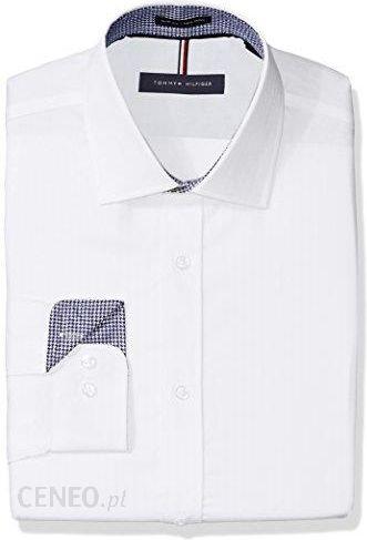 e6a8b3efcf831 Amazon Tommy Hilfiger męska koszula NON Iron Slim Fit koszulka Herringbone  Solid Dress - biały -
