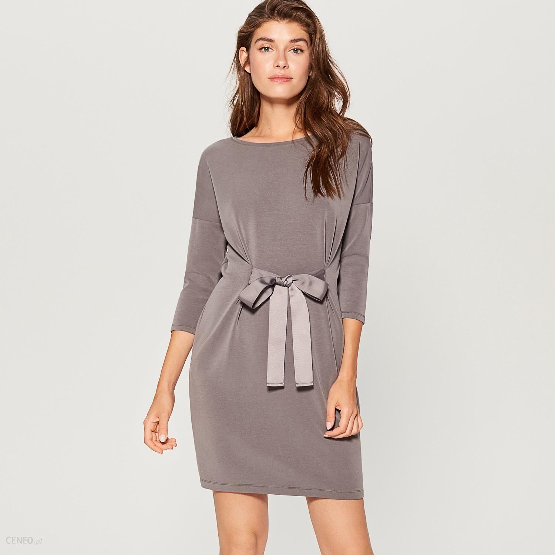 822e3d94bf Mohito - Sukienka z wiązaniem w talii - Szary - Ceny i opinie - Ceneo.pl