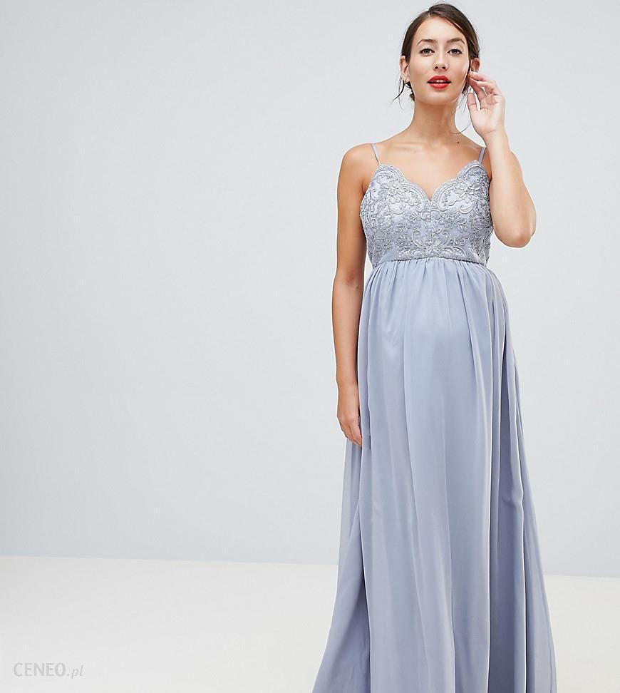 19a63366 Chi Chi London Maternity cami strap maxi dress with premium lace - Grey
