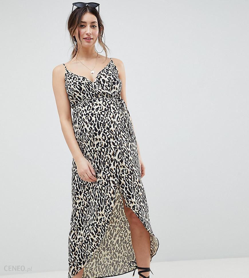6c9a537a06f ASOS DESIGN Maternity cami wrap maxi dress in leopard print - Multi -  zdjęcie 1