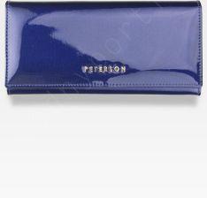 f2d2adacc7d8f Portfel Damski Skórzany PETERSON Duży Elegancki Pojemny System RFID Ciemny  Niebieski 467