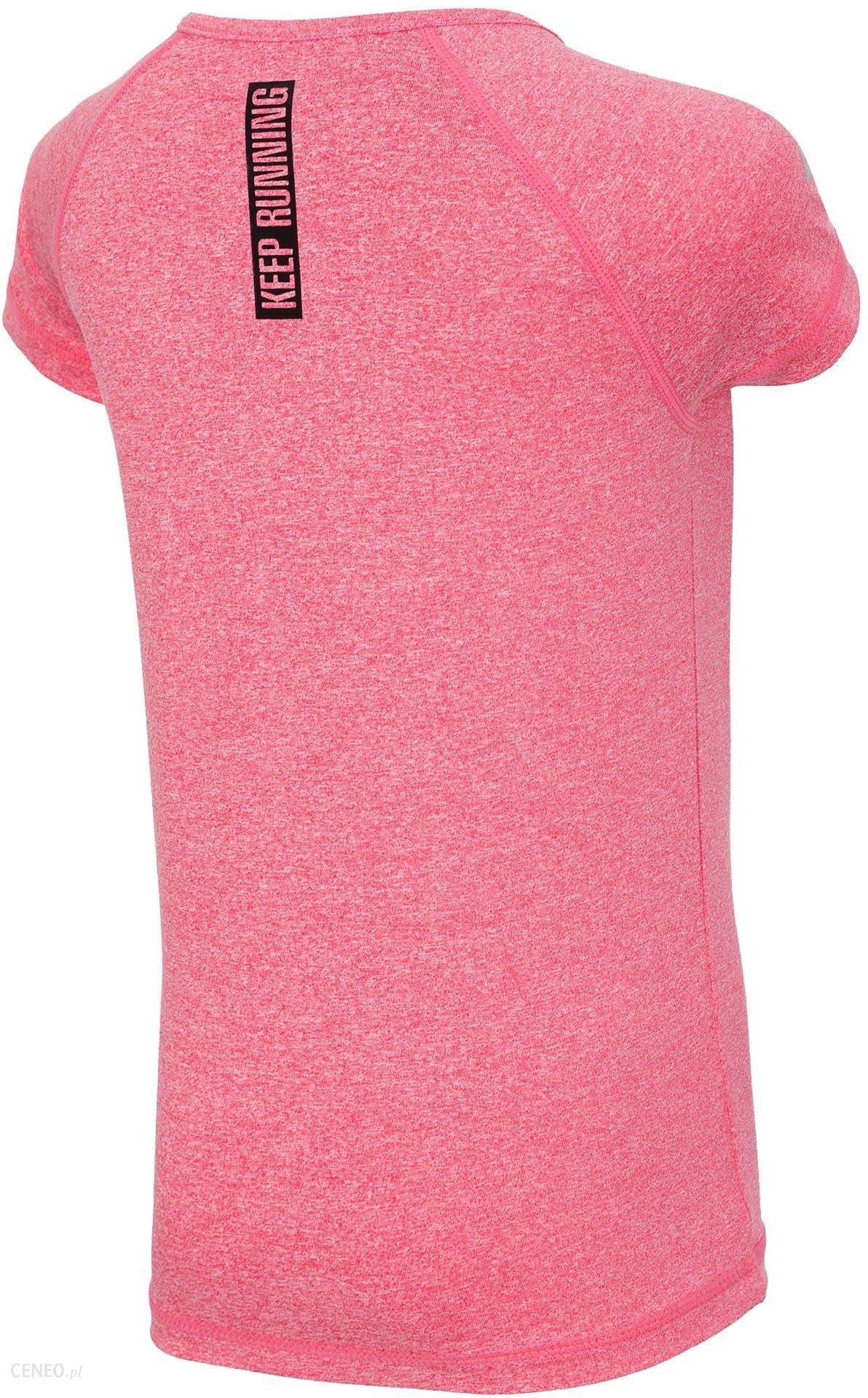 e0bc1f81bd1555 Koszulka sportowa dla dużych dziewcząt JTSD400z - róż melanż 4F JUNIOR -  zdjęcie 1