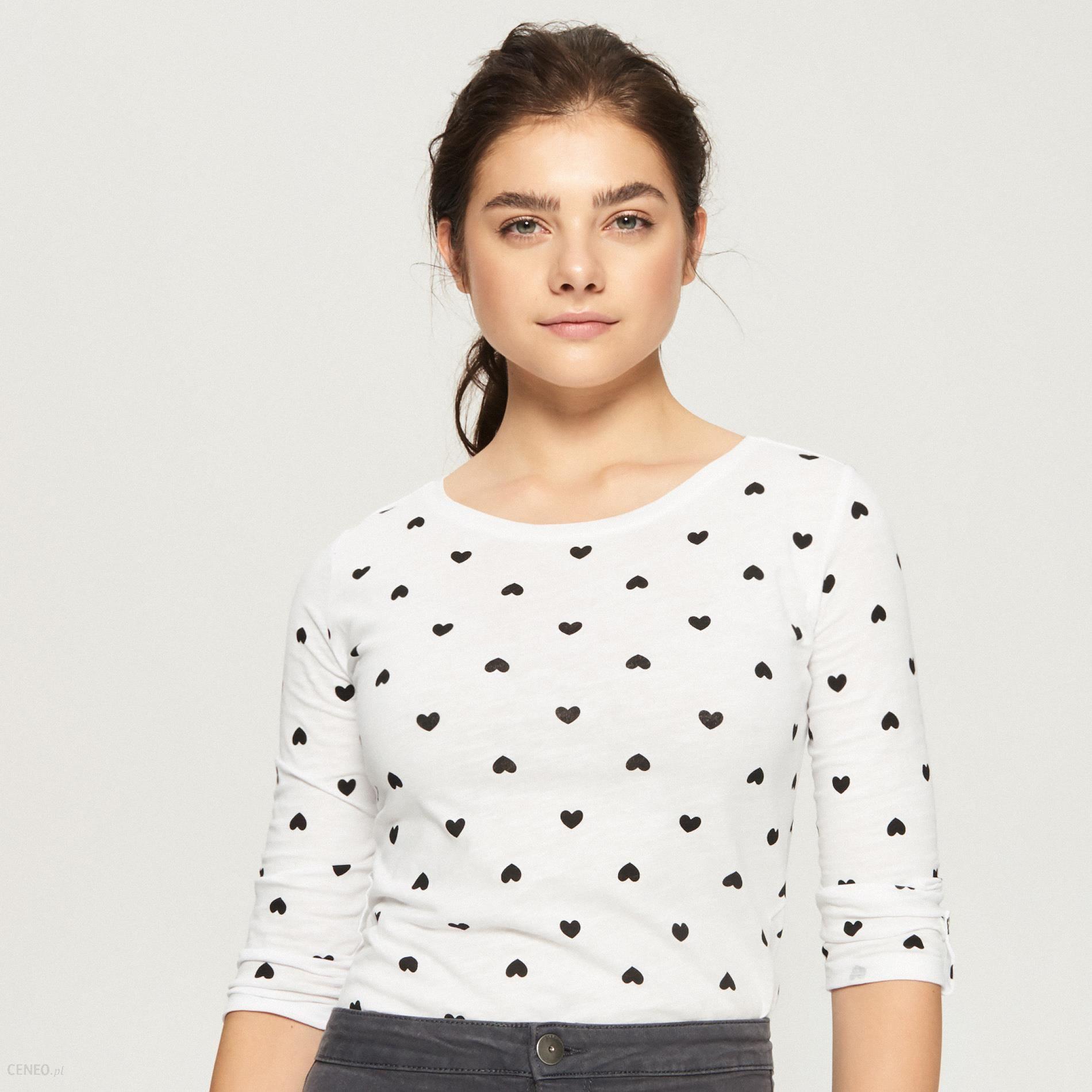 1d17567dfb2d Sinsay - Bawełniana bluzka z długimi rękawami - Biały - Ceny i ...