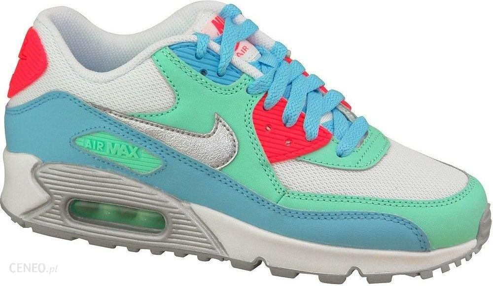 3a3aa25c33c0e Nike Buty damskie Air Max 90 Gs 724855-100 biało-zielono-niebieskie ...