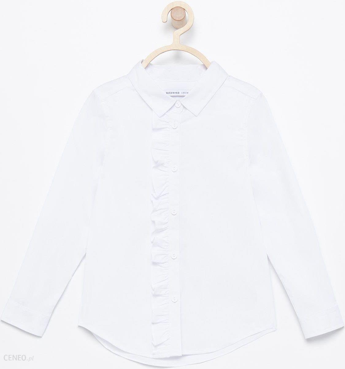 Reserved Elegancka koszula z falbanką Biały Ceny i  9F3kM