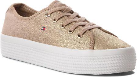 20a19436895cc Tenisówki TOMMY HILFIGER - Metallic Flatform Sneaker FW0FW02984 Desert Sand  ...