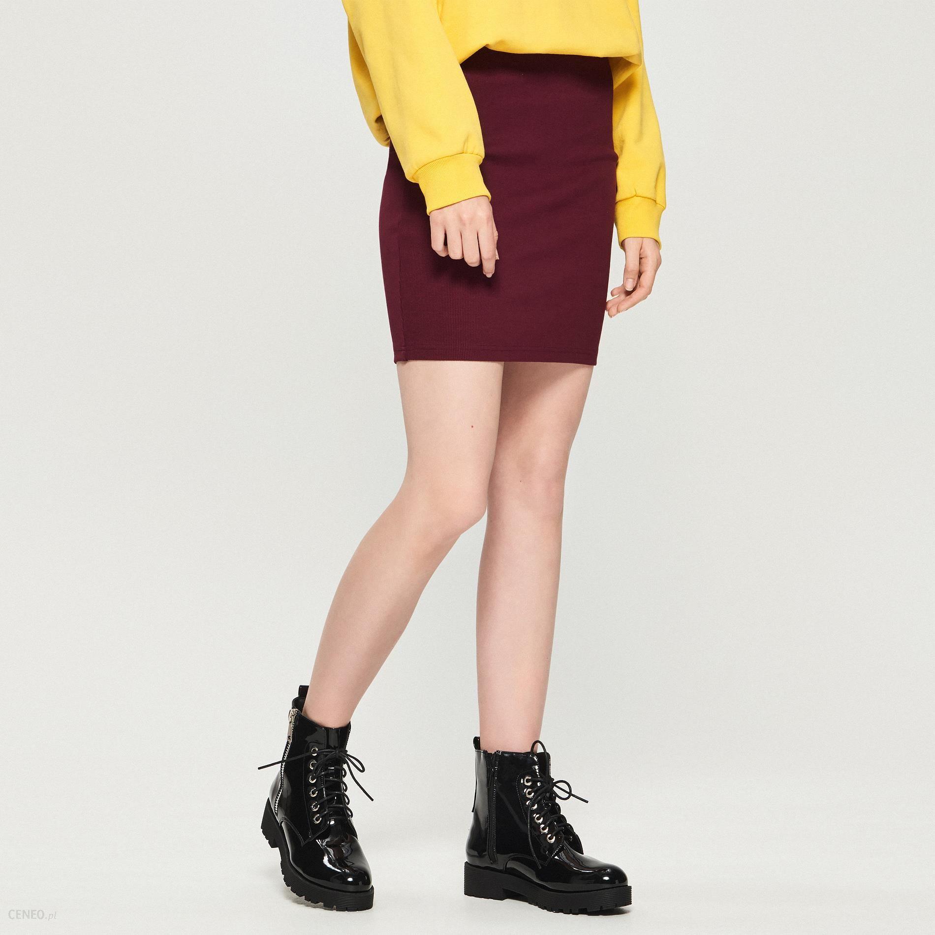 Sinsay Dzianinowa spódnica mini Bordowy Ceny i opinie