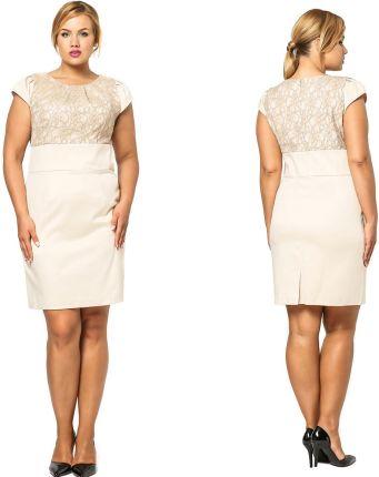 e7fc01d1b6 Sukienka z subtelną koronką duży rozmiar 46 3XL Allegro