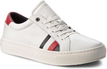 d2c9860beba5a Sneakersy TOMMY HILFIGER - Corporate Leather Detail Sneaker FM0FM01819  White 100 eobuwie