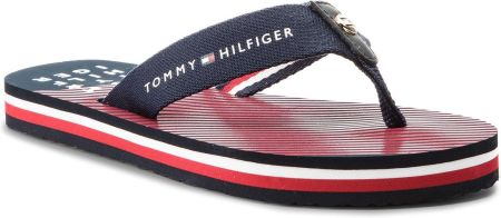 a263d61920697 Japonki TOMMY HILFIGER - Essential Stripe Beach Sandal FW0FW02378 Midnight  403 eobuwie