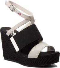 Sandały TOMMY JEANS - Material Mix Wedge Sandal EN0EN00048 Off White 156  eobuwie b1841385371