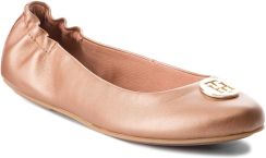 3fc71653a8485 Baleriny TOMMY HILFIGER - Pearlized Leather Ballerina FW0FW03412 Summer  Cognac 929 eobuwie