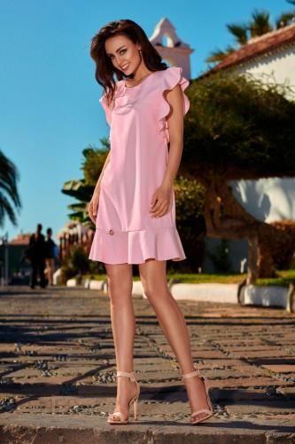 9ffdf85731 Wizytowa sukienka z falbankami L248 pudrowy róż - Ceny i opinie ...