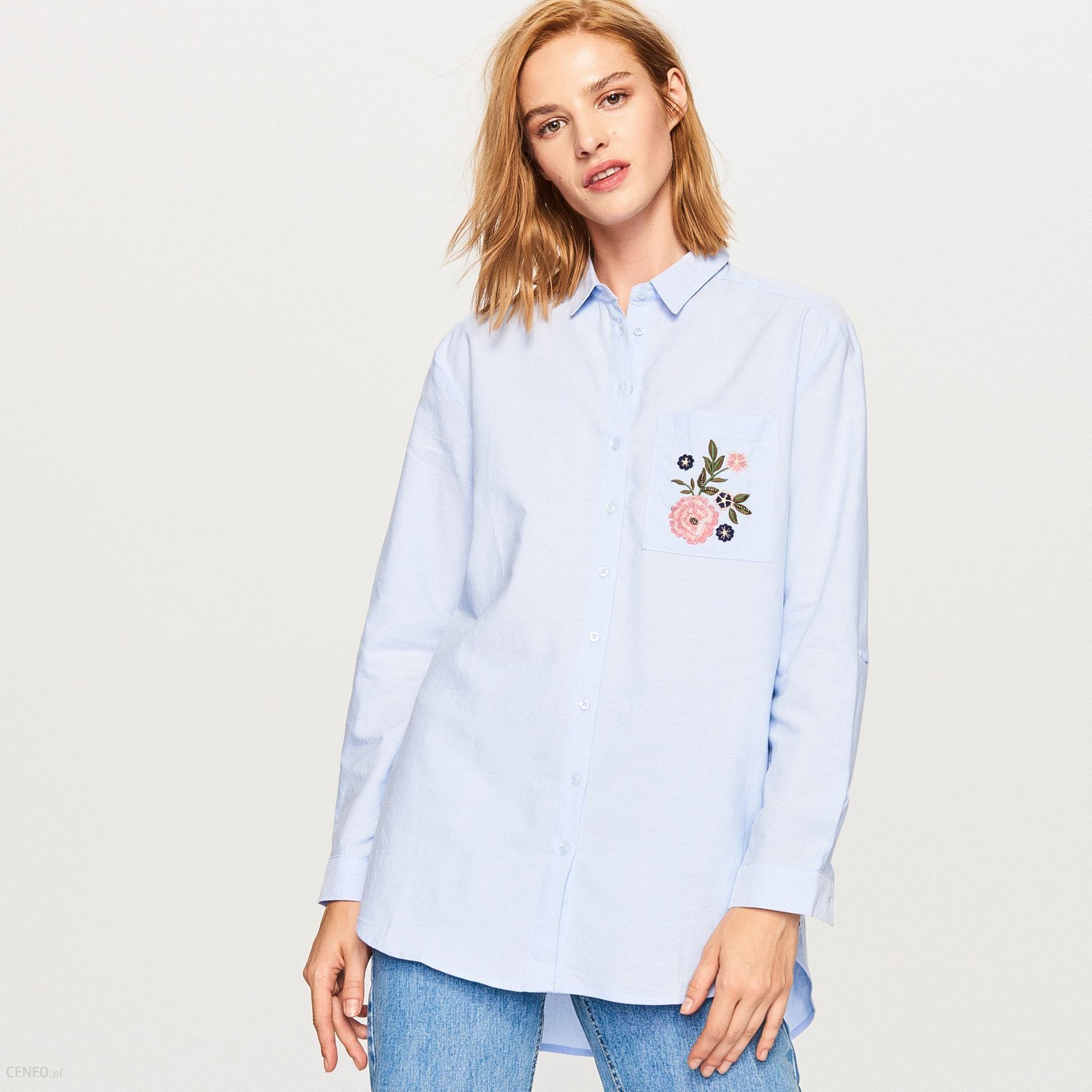 Długa koszula z bawełny organicznej Niebieski