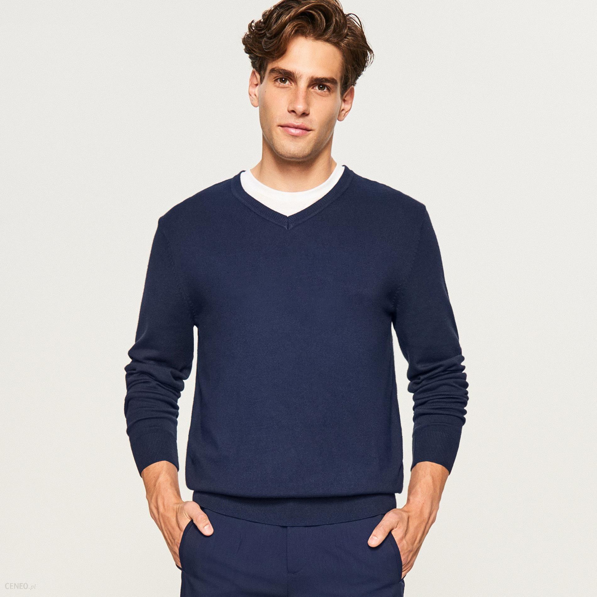 f07820d80d Reserved - Sweter z dekoltem w serek - Granatowy - Ceny i opinie ...