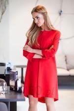 47c2929a99 S011 Asymetryczna sukienka z zakładką Red - Ceny i opinie - Ceneo.pl