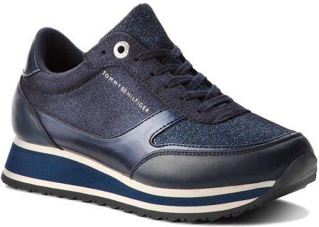 b60713db0863 Sneakersy TOMMY HILFIGER - Metallic Retro Runner FW0FW03337 Midnight 403  eobuwie
