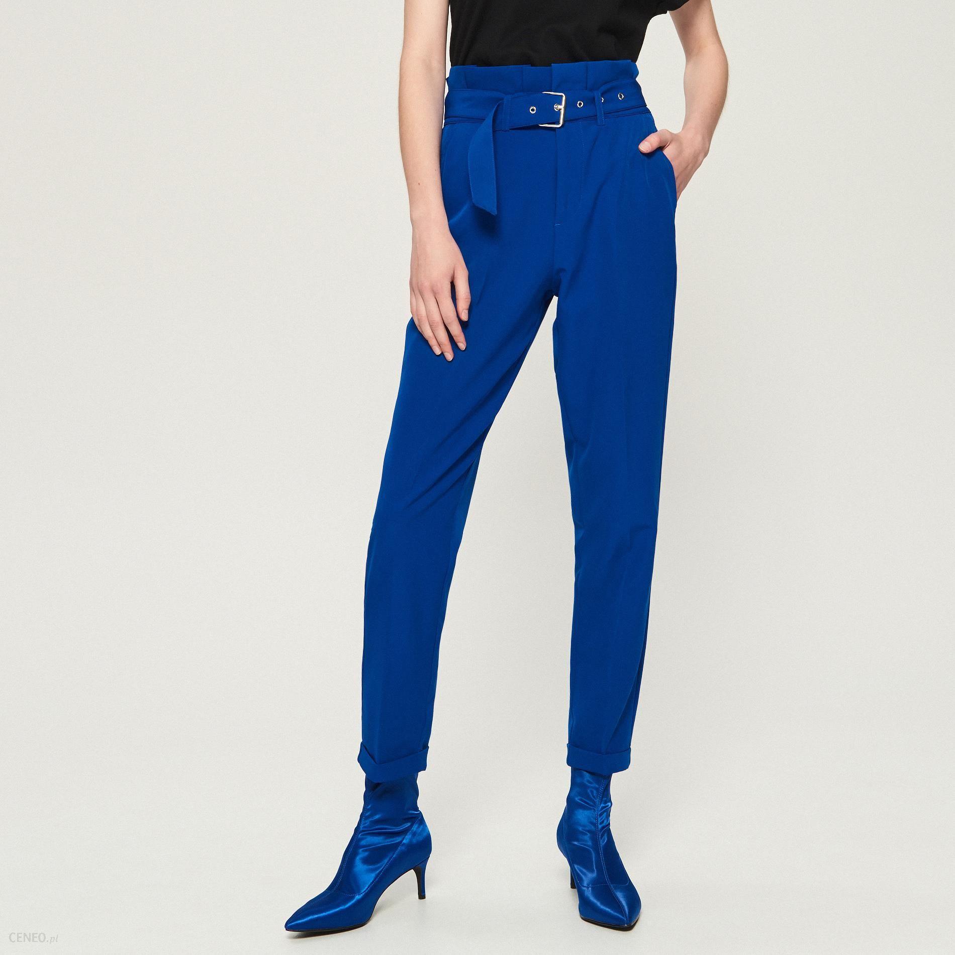 256f1d40b592 Sinsay - Spodnie paperbag z paskiem - Niebieski - Ceny i opinie ...