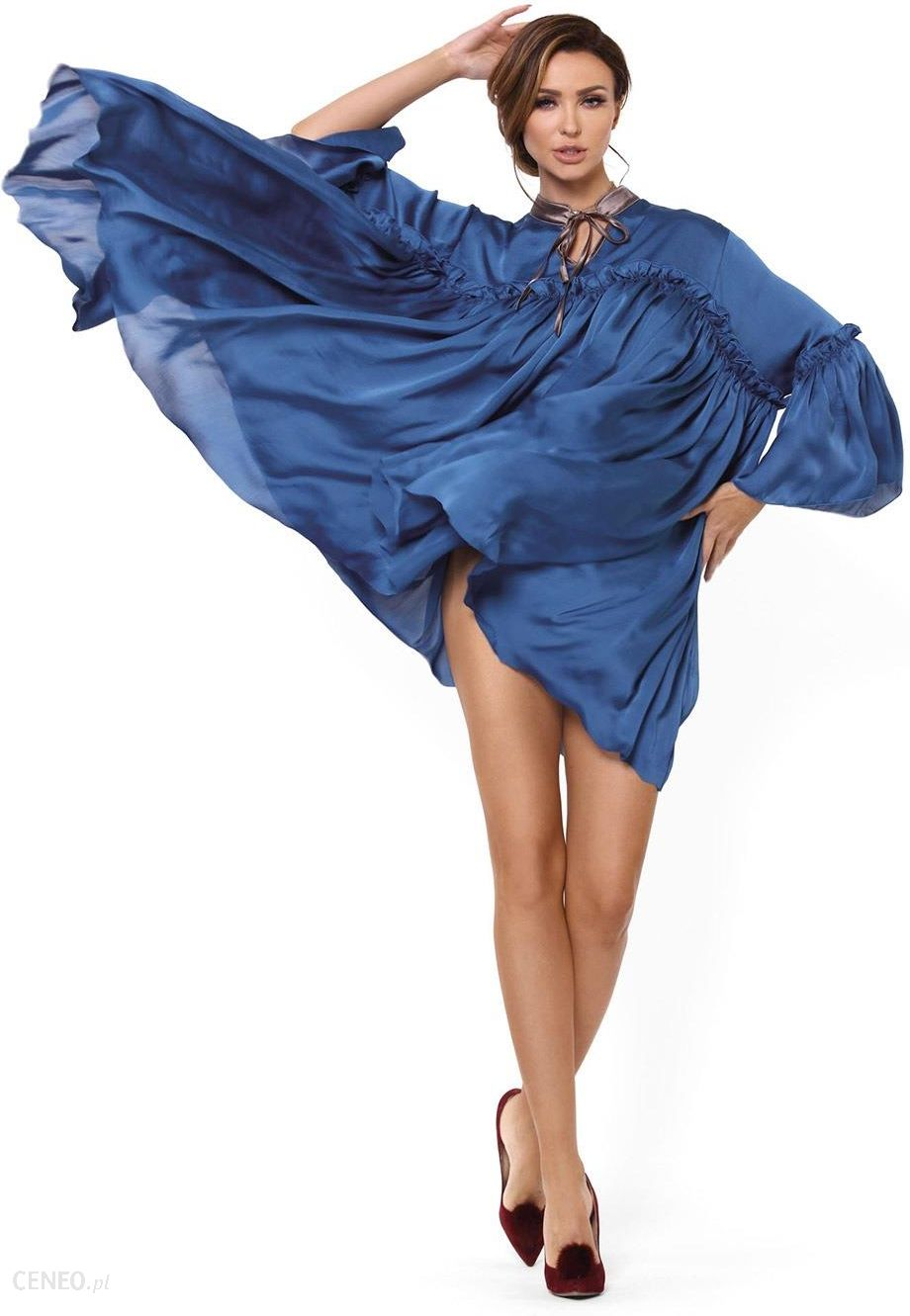 25917205fefff6 PIGEON Jedwabna koszula nocna Alessia niebieski M/L - Ceny i opinie ...