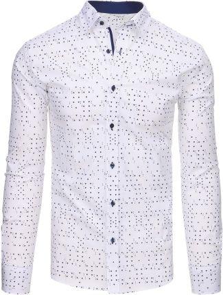 e65a341d7a7bda Biała koszula męska we wzory z długim rękawem (dx1437) - Biały ...