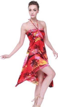 136d482047 Amazon Damska sukienka hawajski motyl w zachód słońca Czerwony - Koktajl xxl