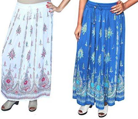 bde629cd0b Amazon Royal Wholesale 2 PCS. lot Sequins Long Maxi Women s Indian Skirt ( White
