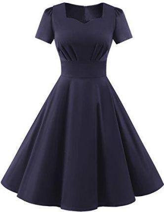 ff0203e10c Amazon dresstells damski Vintage 50er Rockabilly z krótkim rękawem Swing  sukienki impreza sukienka