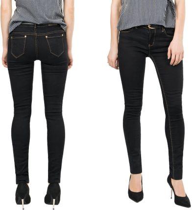 c5d26352afbfd2 Czarne Rurki Jeans Damskie Spodnie Pasek 8096 70cm Allegro