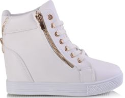 9238f6a6e9a86 Hit !!! Botki Sneakersy Na Koturnie Białe -50% - Ceny i opinie ...