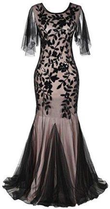 6b21a96418 Amazon kayamiya damskie XX lat Maxi długa Bal-sukienka z cekinami Syrenka  hem suknia wieczorowa
