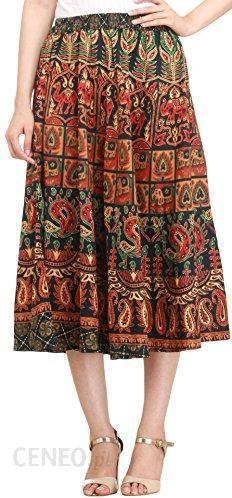 b3bf387d8e Amazon Exotic Indie Sang aneri Midi Skirt with printed elephants and  peacocks – granatowy (marynarski