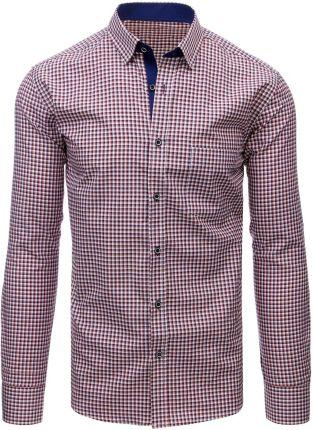6f72f7940482b2 Bordowa koszula męska elegancka w kratę z długim rękawem Bolf 4747-1 ...